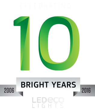 led eco lights 10 year logo